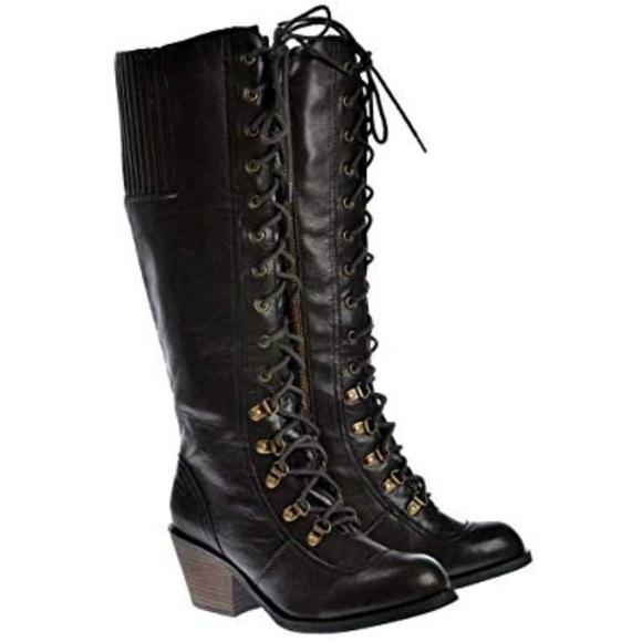 a52dfd8ac6 Rocket Dog Shoes | Nwt Rachel Tall Military Slick Pu Boots | Poshmark